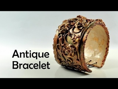 Antique. vintage bracelet with flowers - polymer clay TUTORIAL