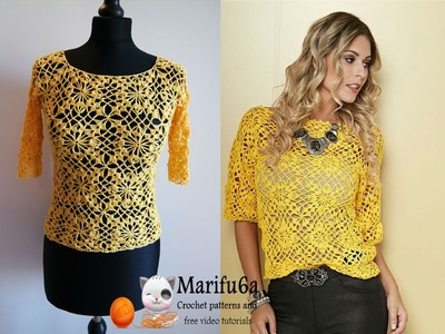 How to crochet yellow top blouse free tutorial pattern all sizes by marifu6a