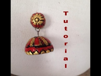 How to make a stud type jhumka in terracotta clay