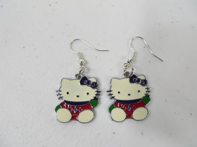 How To Make Custom Hello Kitty Charm Earrings Tutorial Simple