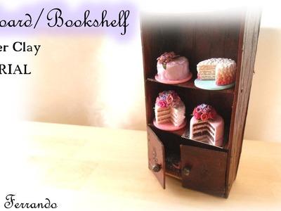 Miniature Polymer Clay Cupboard. Bookshelf Furniture Tutorial