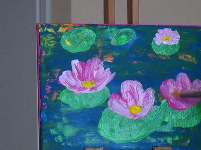 Tanja Bell  How  to  paint  Abstract  Painting  Lily Pond Tutorial Lotus Flower