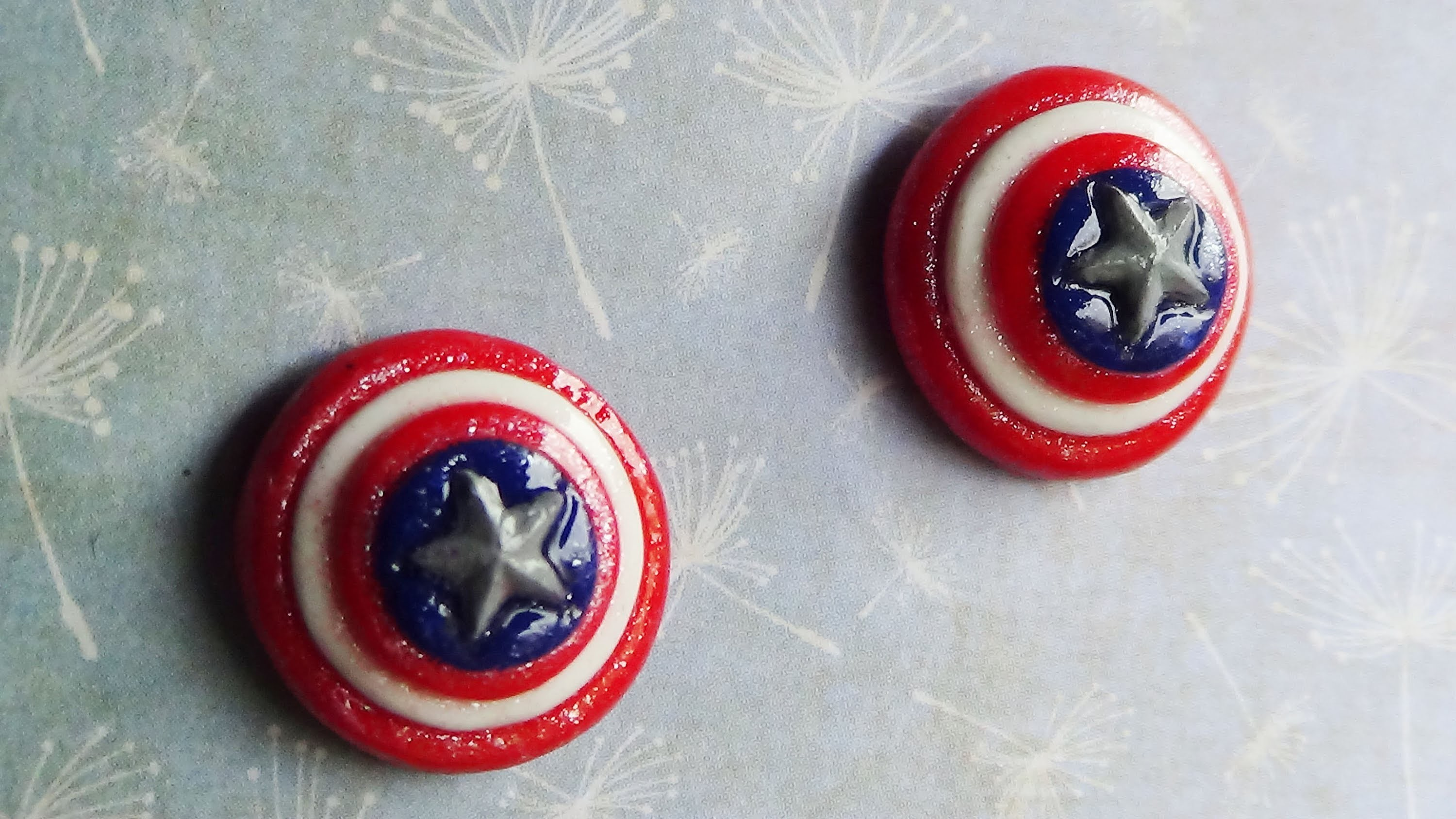 Captain America's Shield EARRINGS!! [STUDS] -Polymer Clay Tutorial