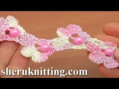 Crochet Beaded Cord Made of Flowers Tutorial 68
