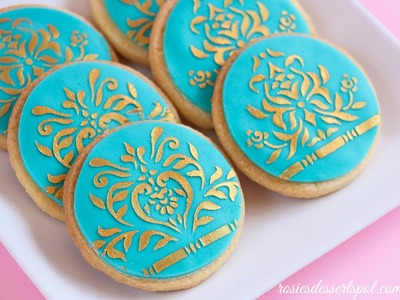 Easy cookie decorating using stencil and chocolate ganache