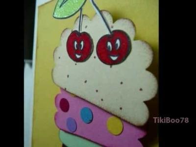 Handmade box with sheep topper & Ice Cream Cone Card