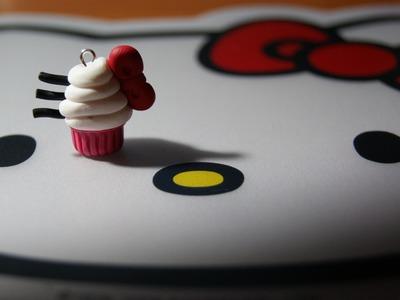 Hello Kitty Cupcake Swirl Charm: Polymer Clay