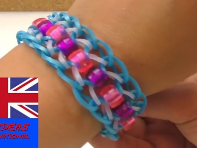 How to make a dragon scale loom band bracelet with beads? Tutorial DIY