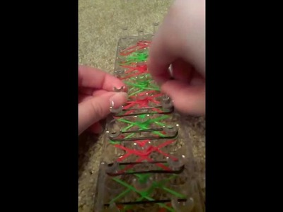 How to make a rubber band Candy Cane bracelet