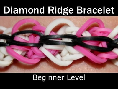 How to make a Rubber Band Diamond Ridge Bracelet - Easy Level