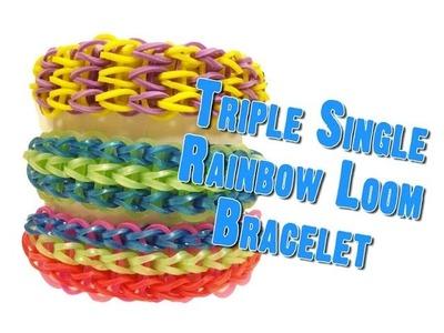 How to Make a Triple Single - Rubber Band Bracelets & Loom Bands