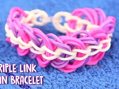 How To Make Rubber Band Bracelet - A EASY Triple Link Chain Bracelet without Loom