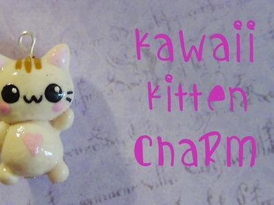Kawaii Kitten Charm - Polymer clay!