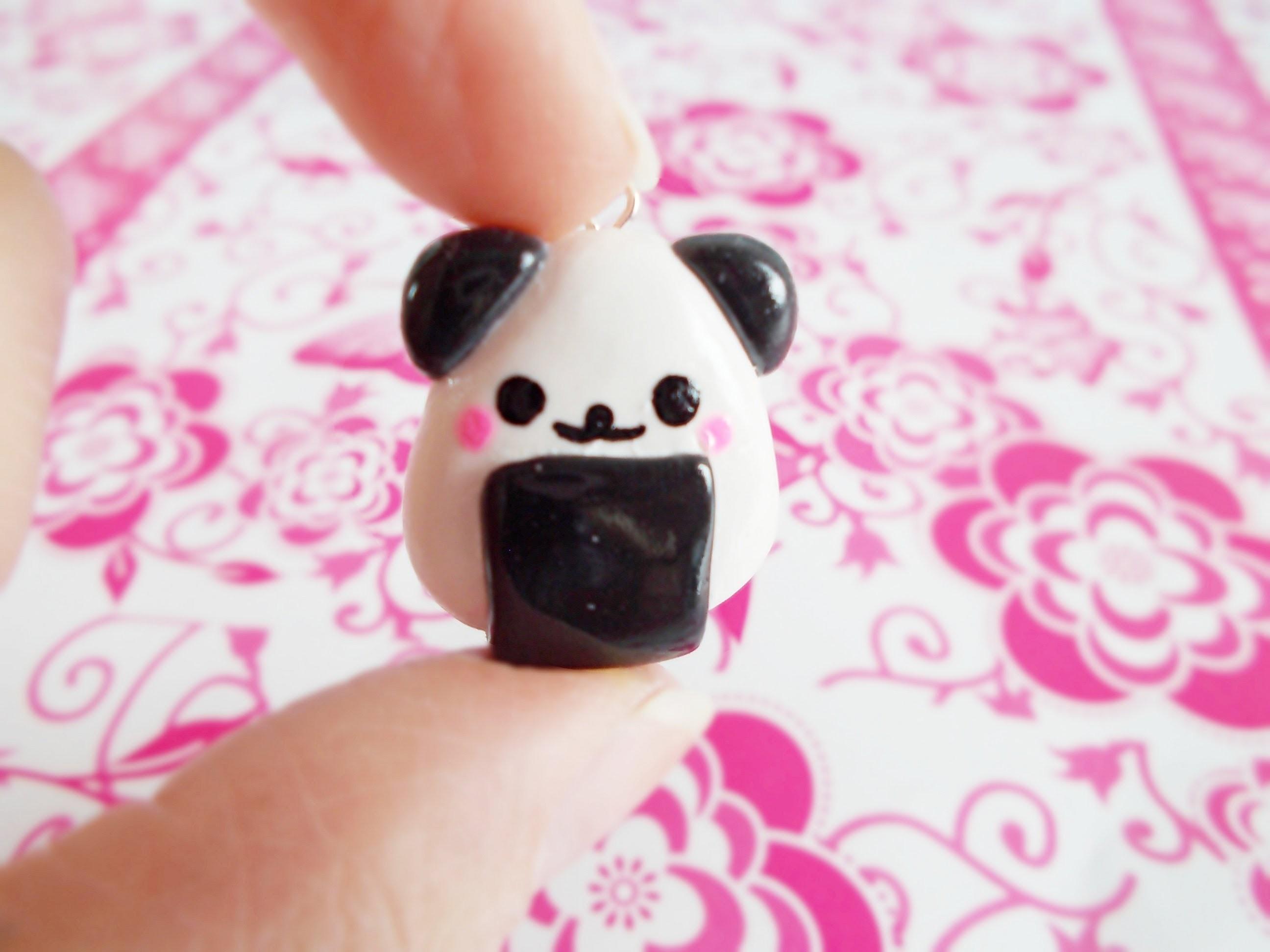 Kawaii Onigiri Panda - Polymer Clay Tutorial