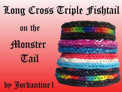 Long Cross Triple Fishtail Bracelet - Monster Tail - Rainbow Loom