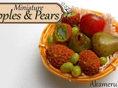 Miniature apples and pears - Polymer clay fruit tutorial