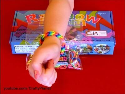 My NEON Rainbow Loom Rubber Band Bracelet Made with Twistz Bandz Loom (rings charms haul)