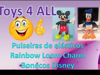 Pulseiras elasticos rainbow loom charm bonecos 3d disney mickey minnie pateta donald
