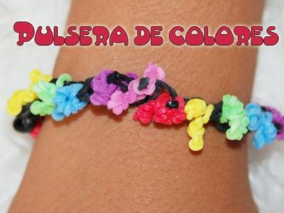Pulsera de colores con gomitas. bracelet coral rainbow loom