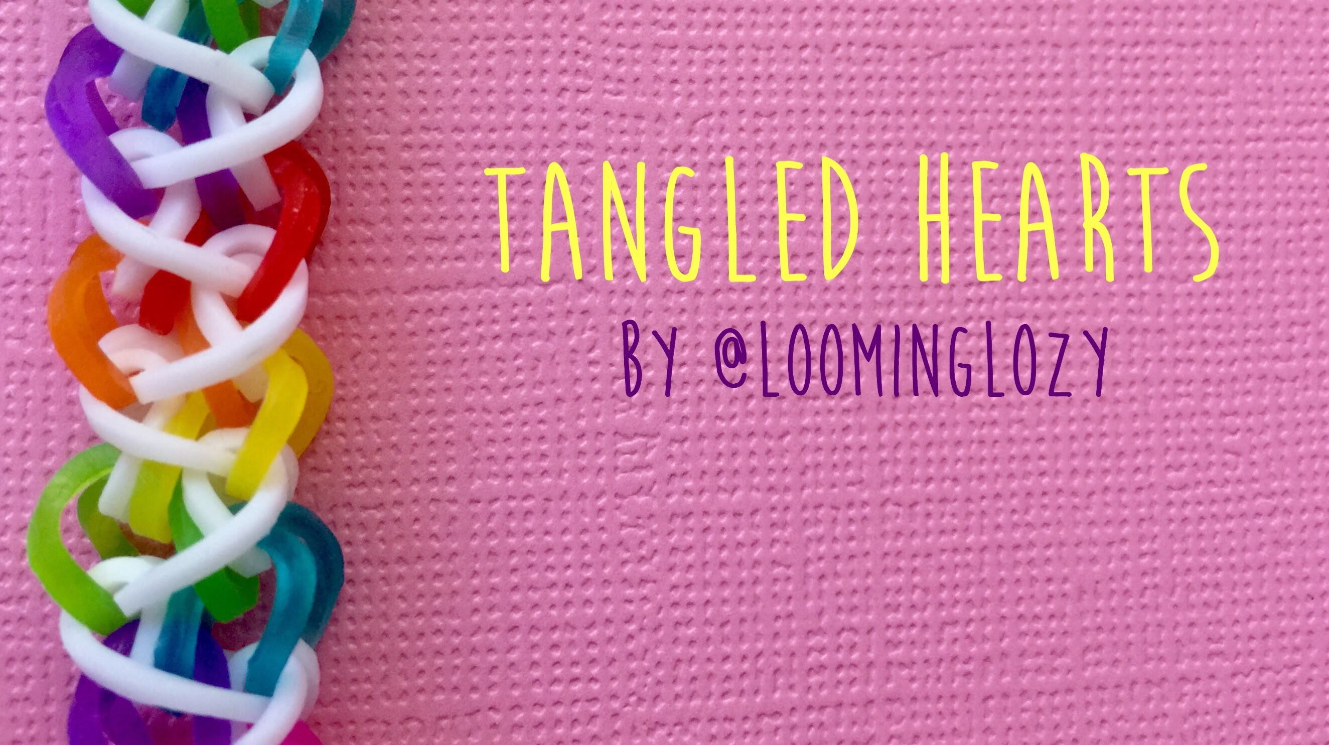 Rainbow Loom Bands Tangled Hearts by @loominglozy