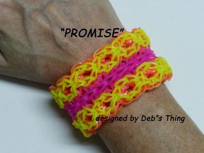 """Rainbow Loom Bracelet - Original Design - """"PROMISE"""" (ref. #7c)"""