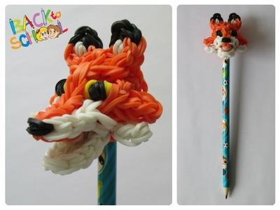 Rainbow Loom fox pencil topper Loombicious