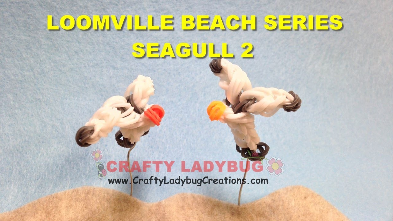 Rainbow Loom-LESS BIRD OR SEAGULL #2 EASY LOOM BANDS Charm Tutorials.How to Make by Crafty Ladybug