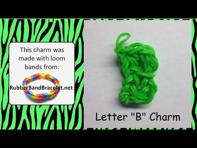 Rainbow Loom Letter B Loom Band Charm - Made Using RubberBandBracelet Loom Bands