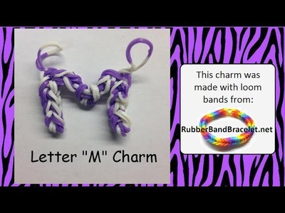 Rainbow Loom Letter M Loom Band Charm - Made Using RubberBandBracelet Loom Bands
