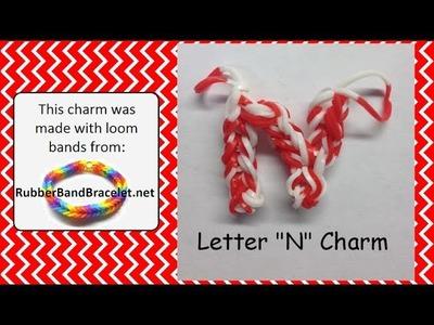 Rainbow Loom Letter N Loom Band Charm - Made Using RubberBandBracelet Loom Bands