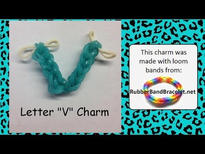 Rainbow Loom Letter V Loom Band Charm - Made Using RubberBandBracelet Loom Bands