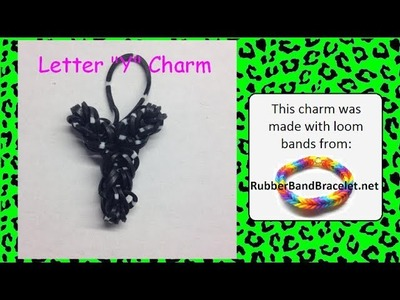 Rainbow Loom Letter Y Loom Band Charm - Made Using RubberBandBracelet Loom Bands