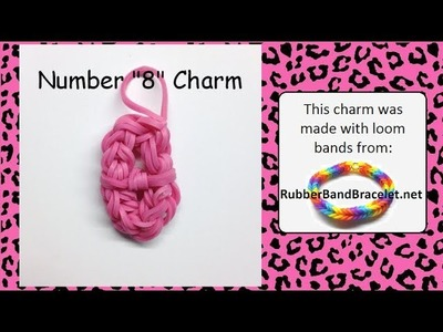 Rainbow Loom Number Eight 8 Loom Band Charm - Made Using RubberBandBracelet Loom Bands
