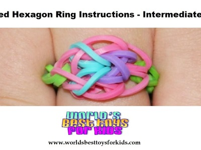 Rainbow Loom Rubber Band Refill - Crossed Hexagon Ring Instructions