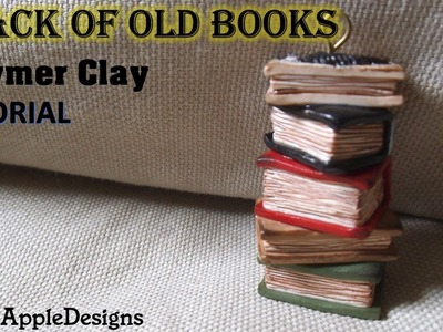 Stack of Old Books Tutorial Charm.Pendant - Polymer Clay Tutorial