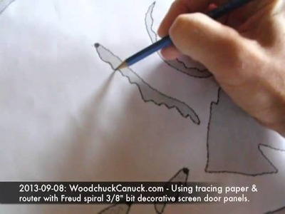 Using tracing paper to transfer pattern to plywood