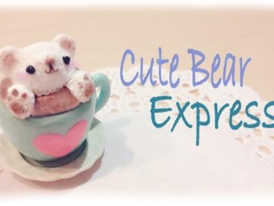 DIY Espresso. Coffee Latte Bear Foam 3D Art