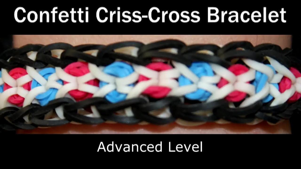 How to make a Rubber Band Confetti Criss Cross Bracelet - Hard Level