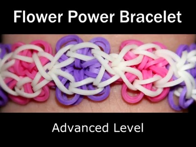 How to make a Rubber Band Flower Power Bracelet - Hard Level