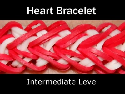 How to make a Rubber Band Heart Bracelet - Medium Level