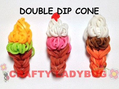 Rainbow Loom DOUBLE DIP ICE CREAM CONE EASY CHARM Tutorial by Crafty Ladybug. Wonder Loom, DIY LOOM
