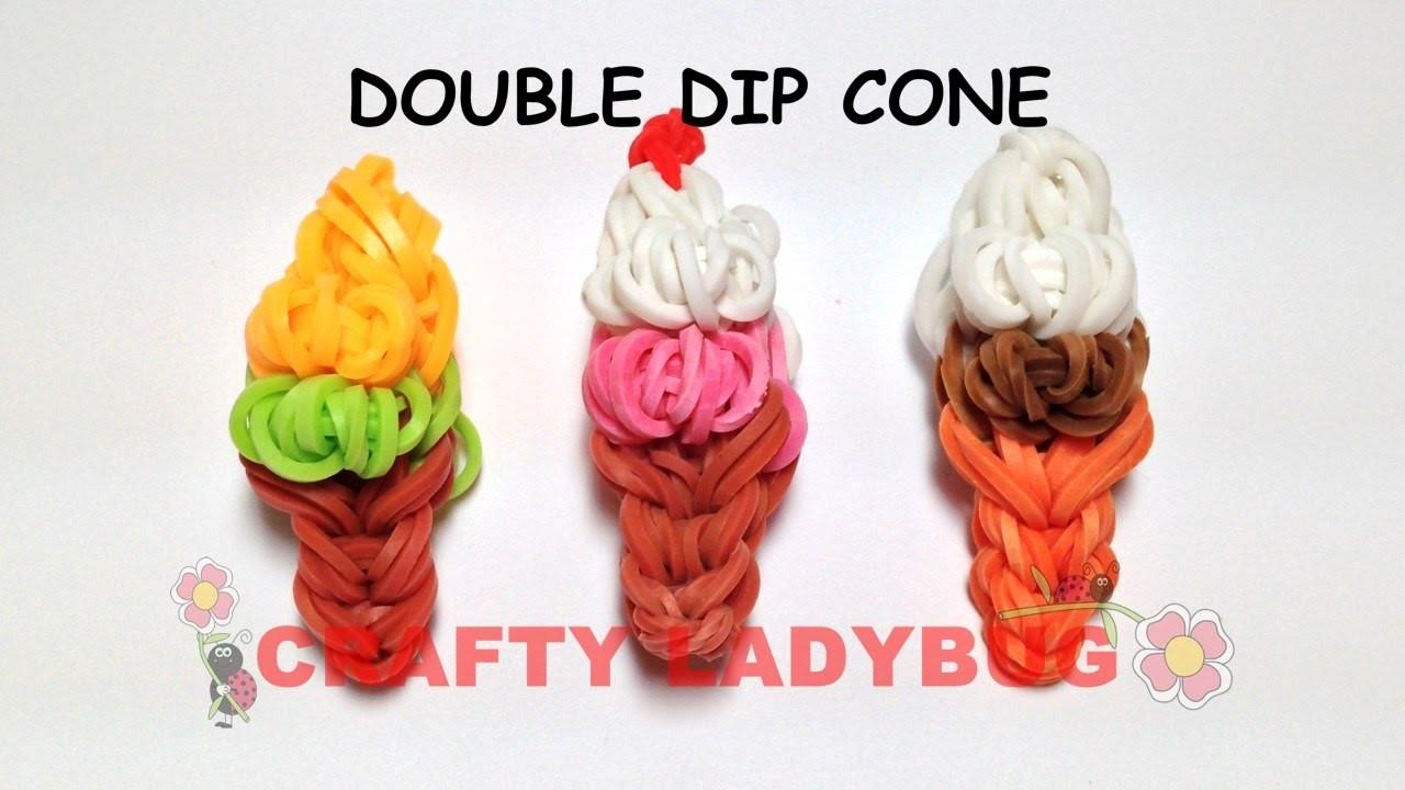Rainbow Loom DOUBLE DIP ICE CREAM CONE EASY CHARM Tutorial by Crafty Ladybug. Wonder Loom, DIY LOOM