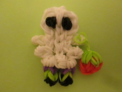 Rainbow Loom Ghost Trick or Treater with Pumpkin Bag. Halloween Charm.
