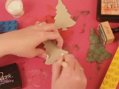 Cricut Christmas Tree Cards with TIm Holtz Inks