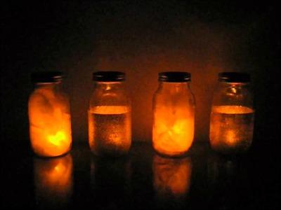 Glitter + Feather Mason Jar Luminaries