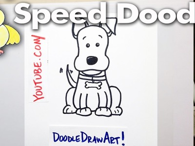 How to Draw a Cartoon Dog - Speed Doodle - Easy, Step by Step