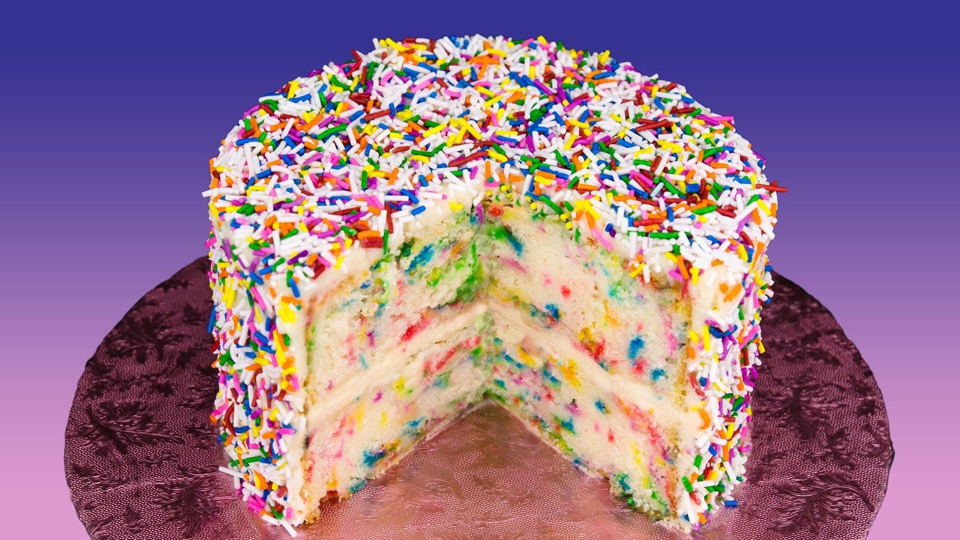 Funfetti Cake Recipe (Birthday Cake with Rainbow Sprinkles) from Cookies Cupcakes and Cardio
