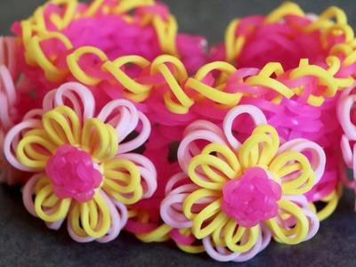Rainbow Loom™  Pink Lemonade Dahlia Bracelet Tutorial