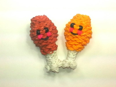 3-D Happy Chicken Leg Tutorial by feelinspiffy (Rainbow Loom)
