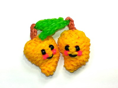 3-D Happy Mango Tutorial by feelinspiffy (Rainbow Loom)